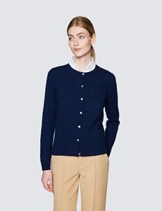 Women's Navy Wool Cashmere Cardigan