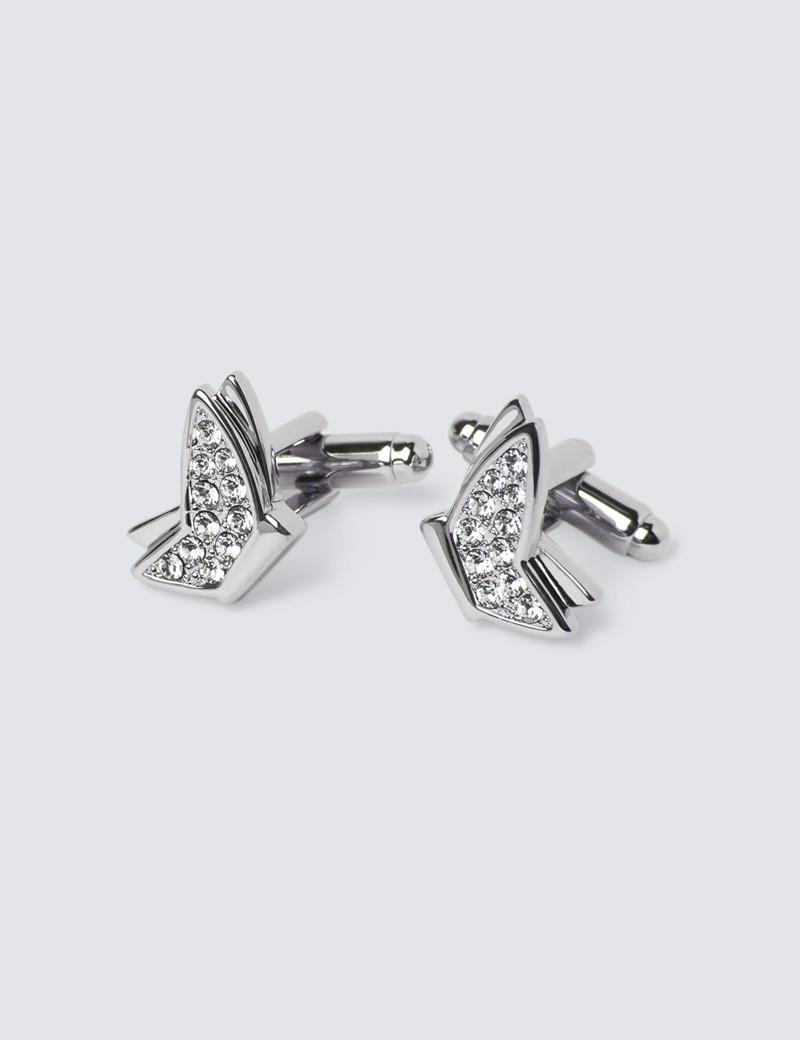 Women's Silver Crystal Butterfly Cufflinks