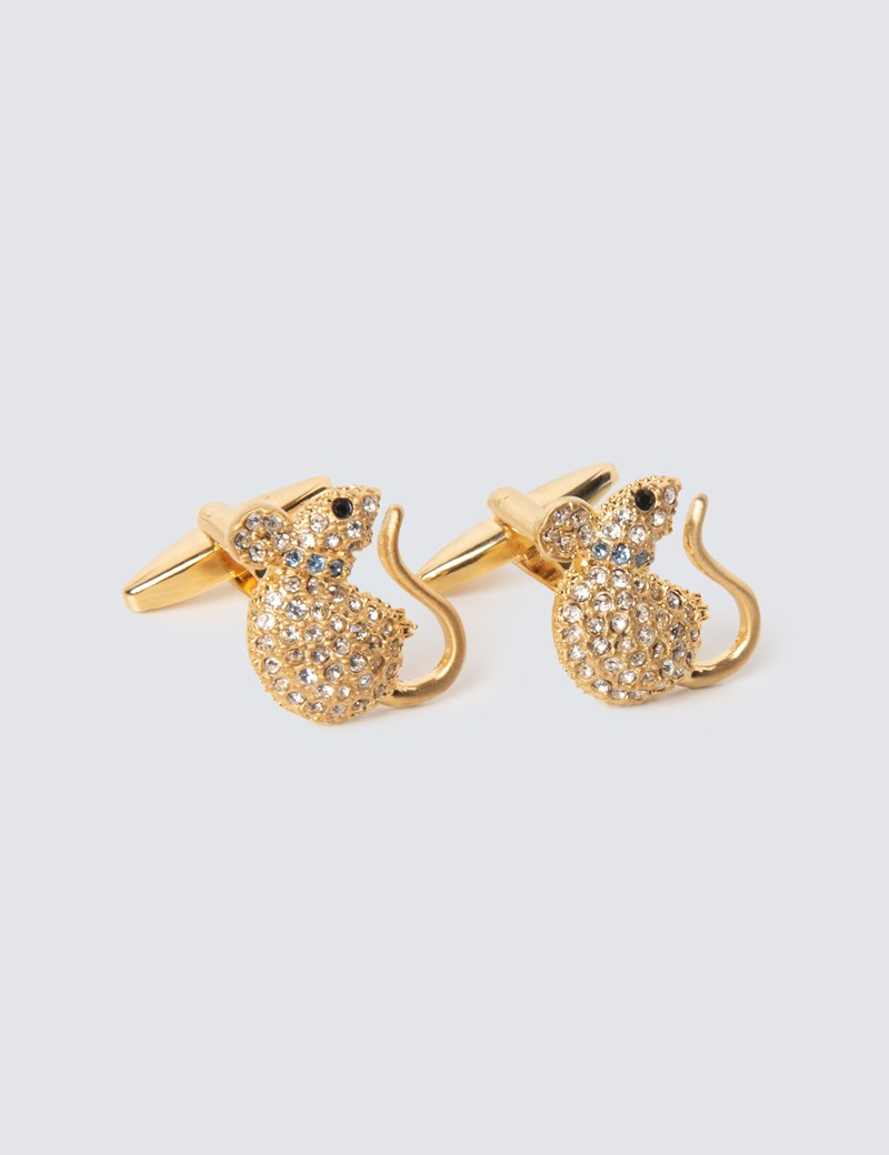 Women's Gold Crystal Mouse Cufflinks – The Mousetrap Collection