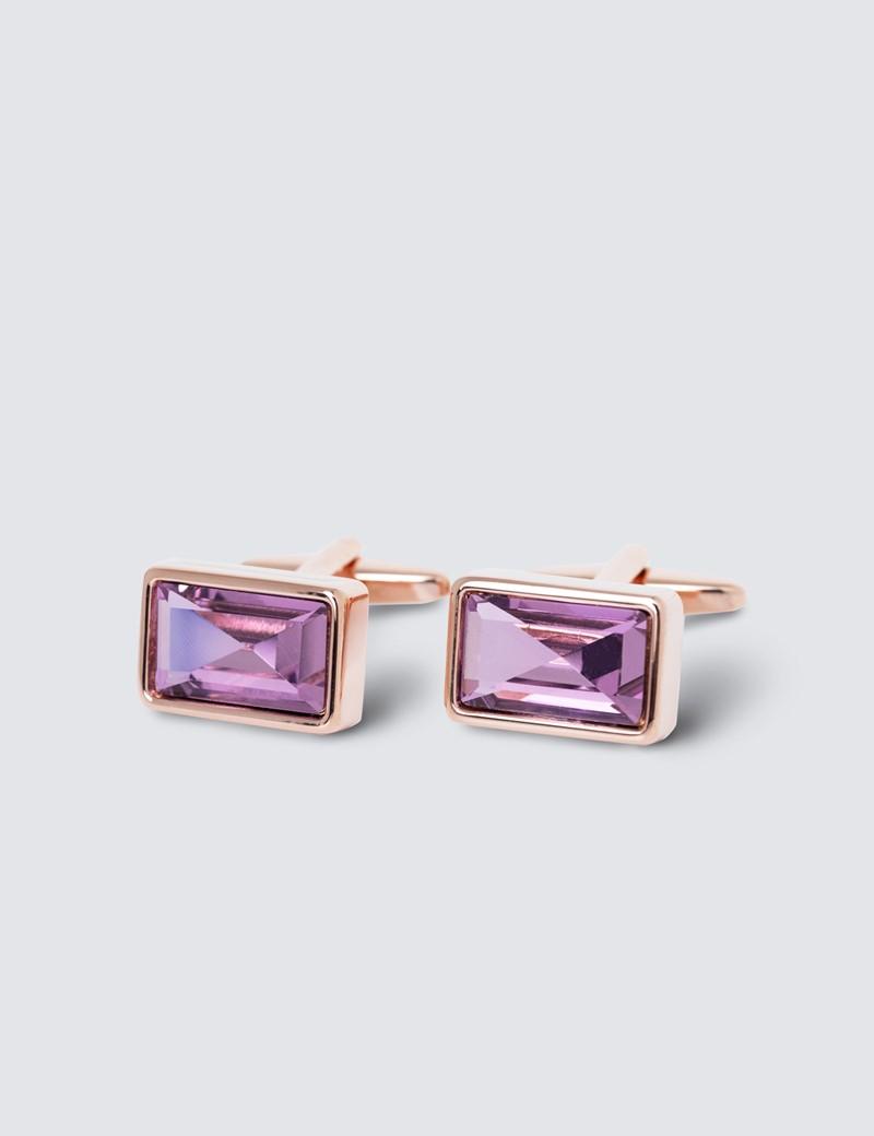 Women's Pink Oblong Stone Cufflinks