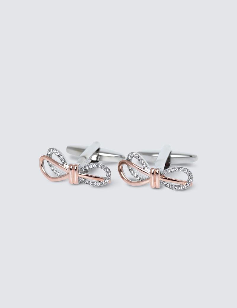 Women's Silver Bow Cufflinks