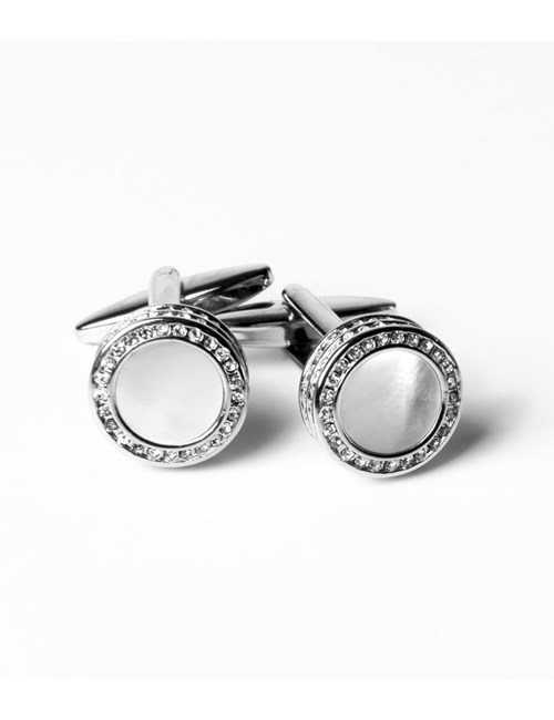 Women's Silver & Clear Mother of Pearl Diamante Cufflinks