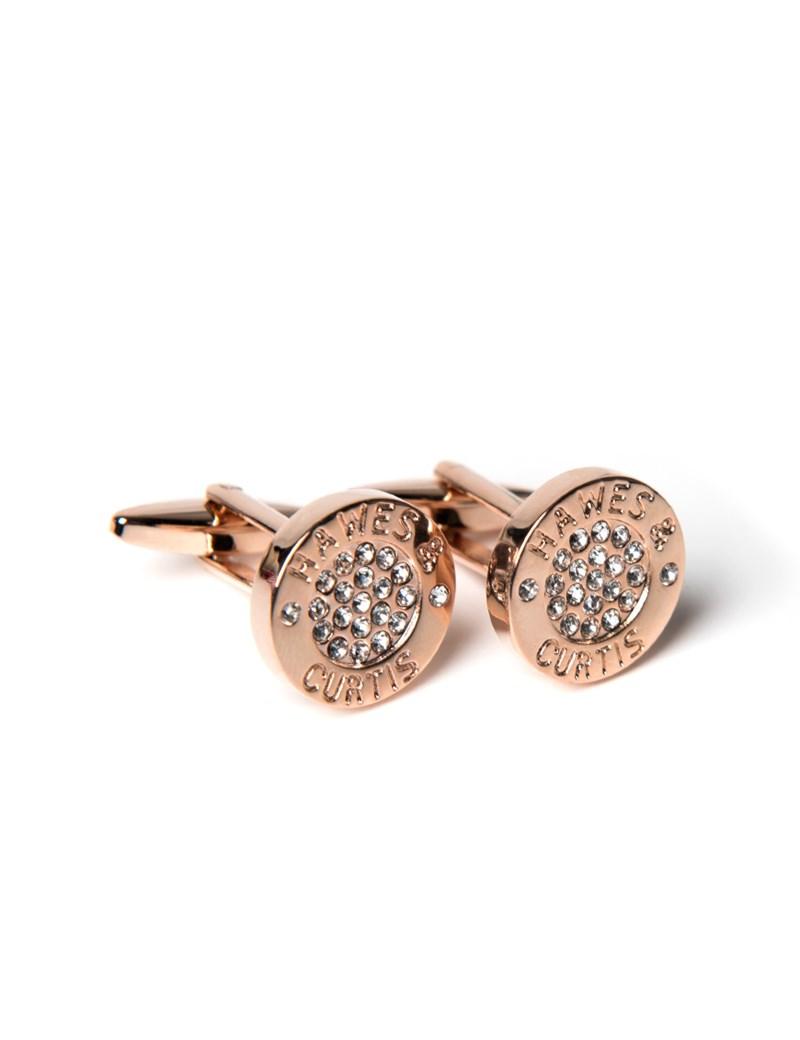 Manschettenknöpfe Damen – Rhodiniert – Gravierter Ring mit Strasseinlage