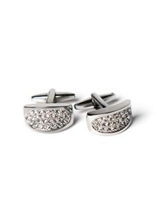 Women's Silver Crystal Barrel Cufflinks