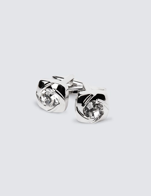 Women's Crystal Square Cufflink
