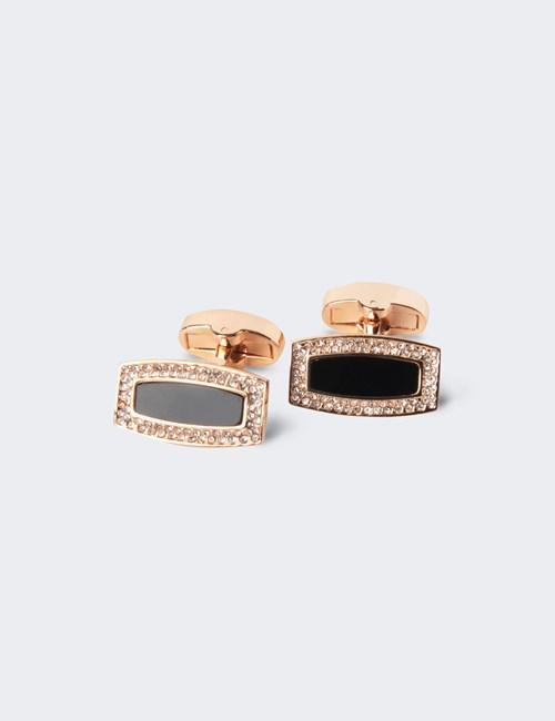 Women's Rose Diamante Rectangle Cufflinks