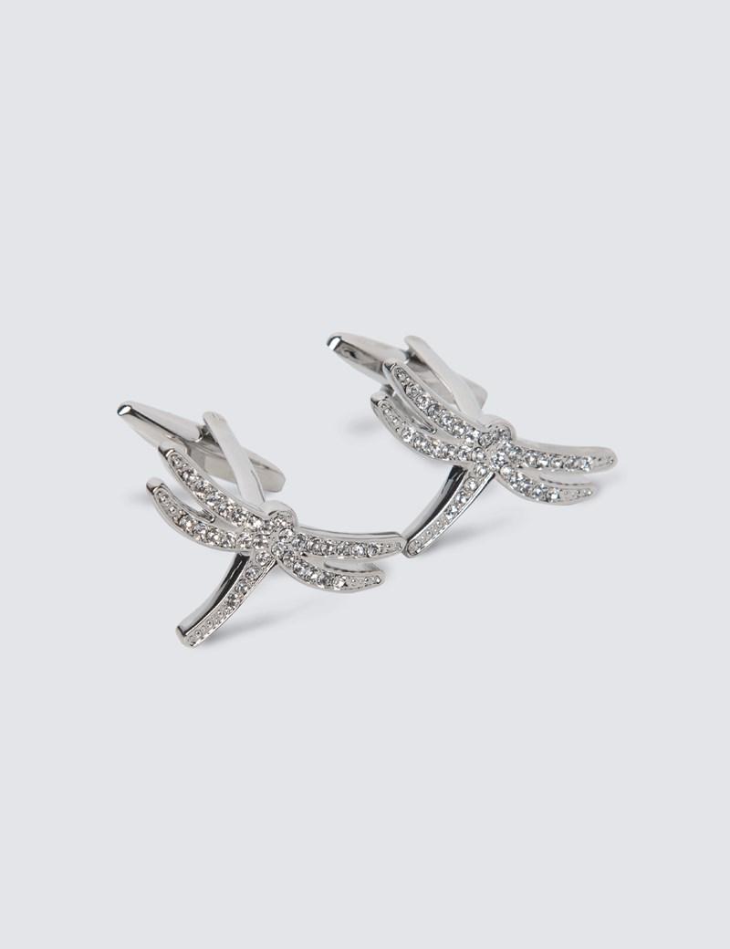 Women's Silver Dragonfly Cufflinks