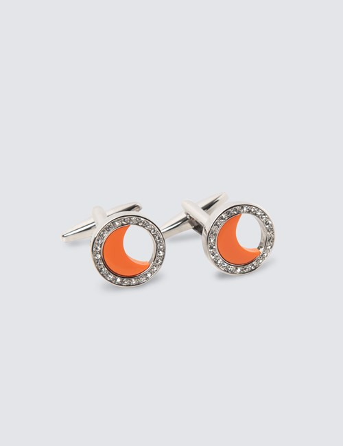 Women's Silver & Orange Half Crescent Cufflinks