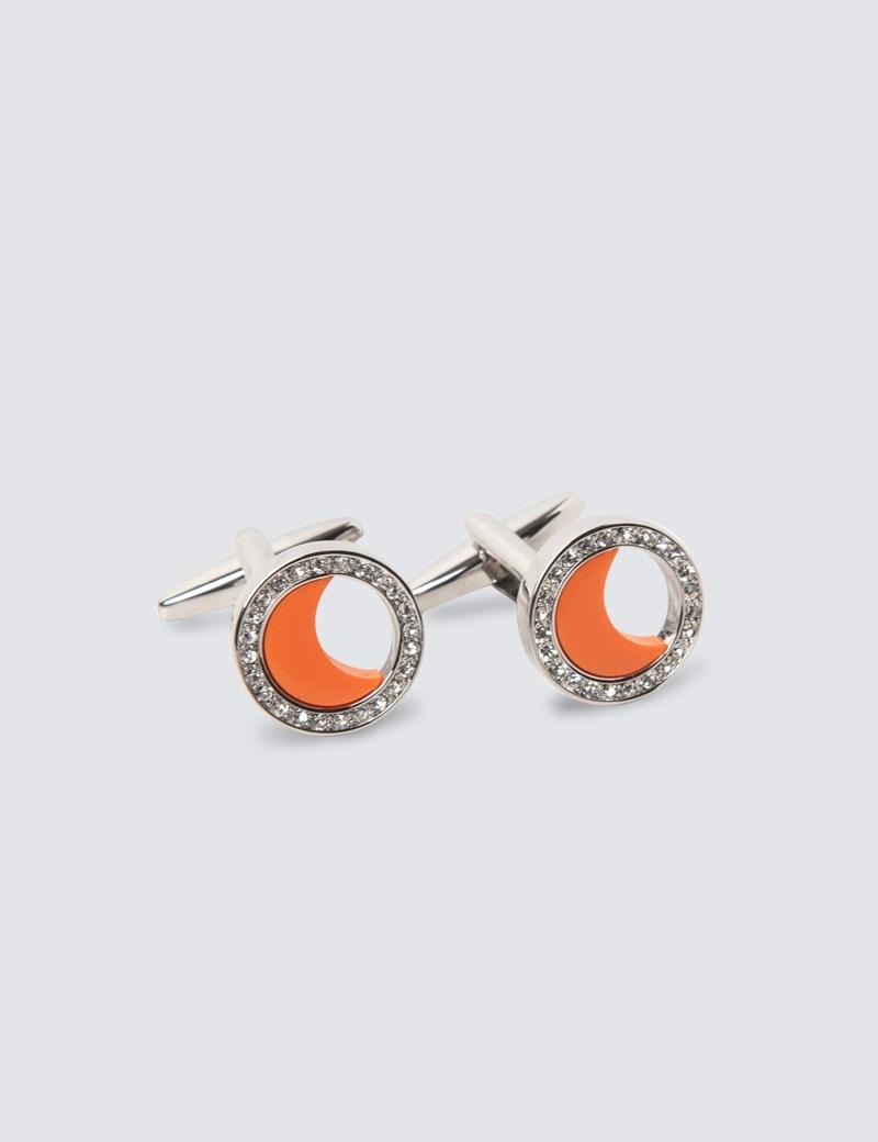Women's Silver & Orange Half Crescent Cufflinks