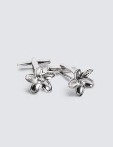 Women's Silver Diamante Flower Cufflinks