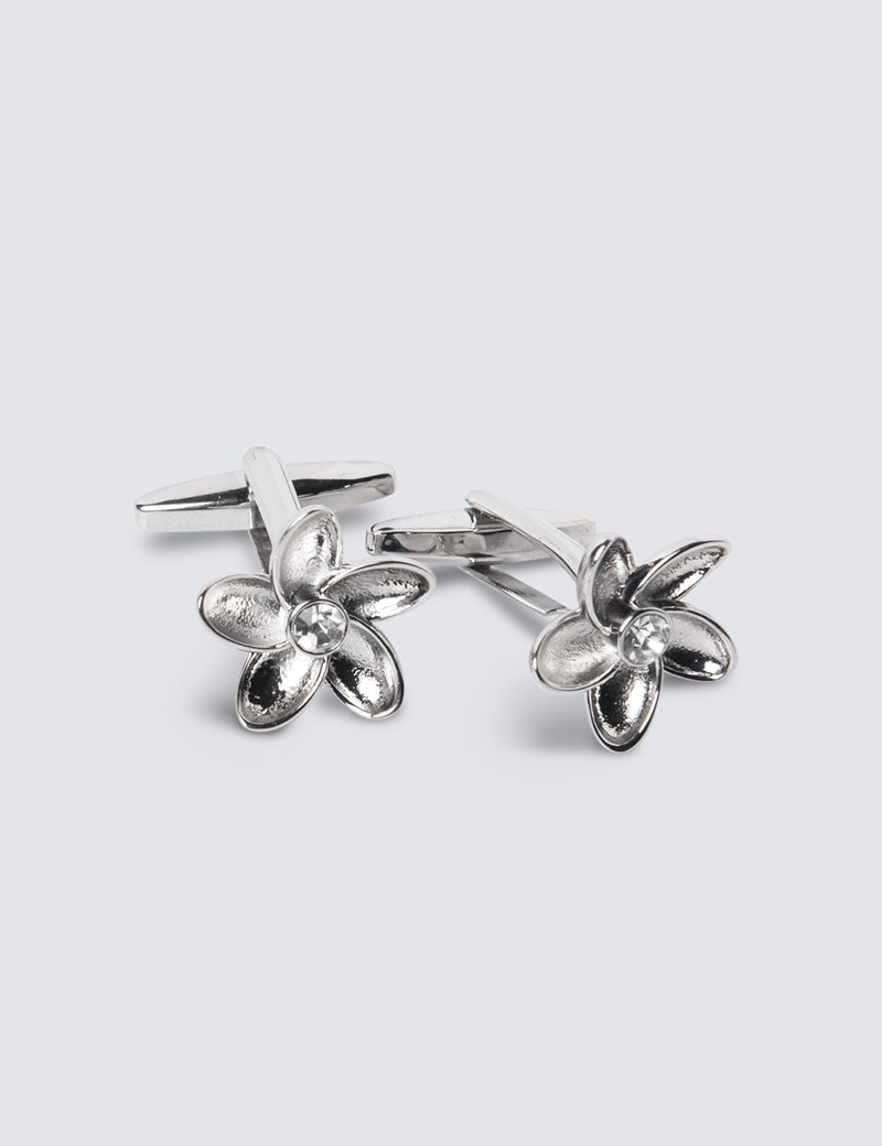 Women's Silver Diamante Flower Cufflinks
