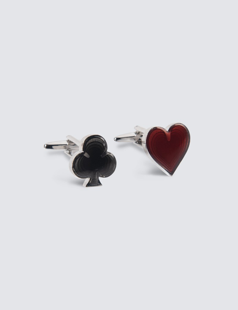 Women's Black & Red Club & Heart Cufflinks