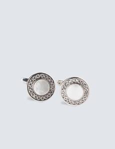 Ladies Silver & Clear Crystal Edge Mop Cufflinks