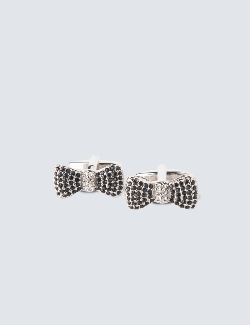 Ladies Silver & Black Bow Diamante Cufflinks