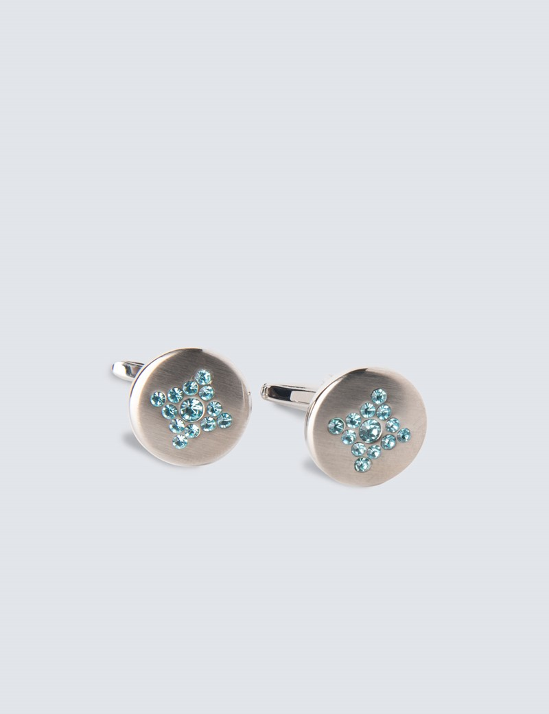 Ladies Silver & Blue Round Diamante Cufflinks