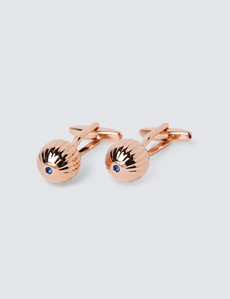 Women's Rose Gold Ball with Diamante Cufflinks