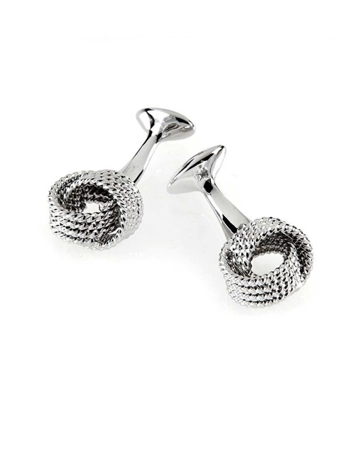 Ladies Silver Beaded Knot Cufflink