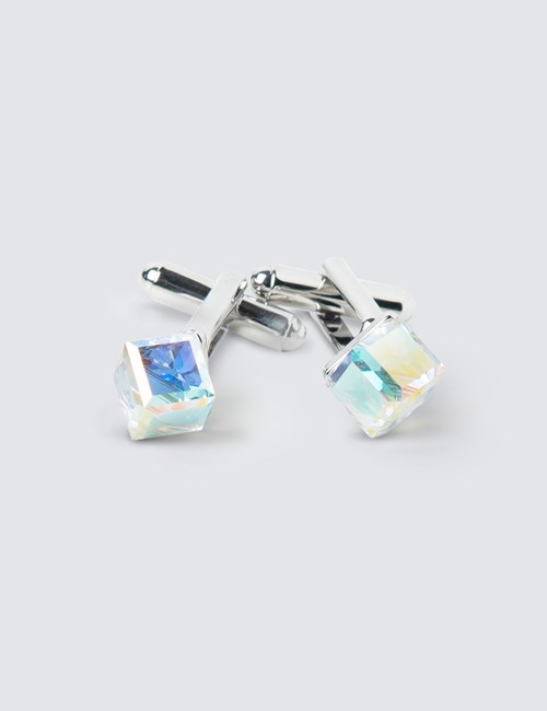 Ladies Clear Crystal Cube Cufflink