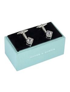 Ladies Silver Encaged Crystal Cufflink