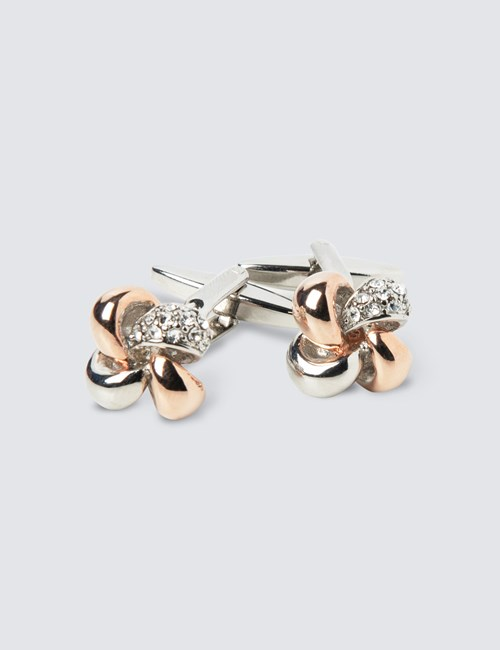Women's Silver & Rose Two Tone Ribbon Cufflinks