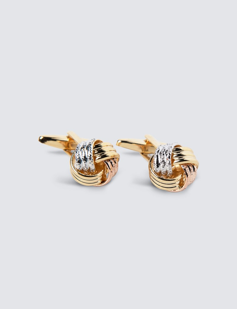 Women's Three Tone Knot Cufflinks