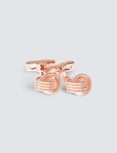 Women's Rose Gold Beaded Knot Cufflink