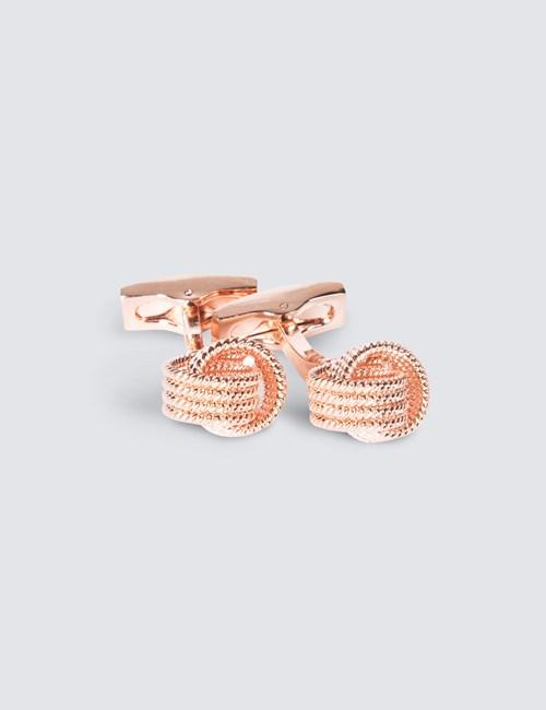 Women's Rose Gold Beaded Knot Cufflink