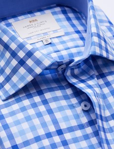 Easy Iron Blue & Royal Multi Check Classic Fit Shirt with Contrast Detail