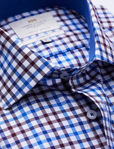 Easy Iron Brown & Blue Multi Check Classic Fit Shirt with Contrast Detail