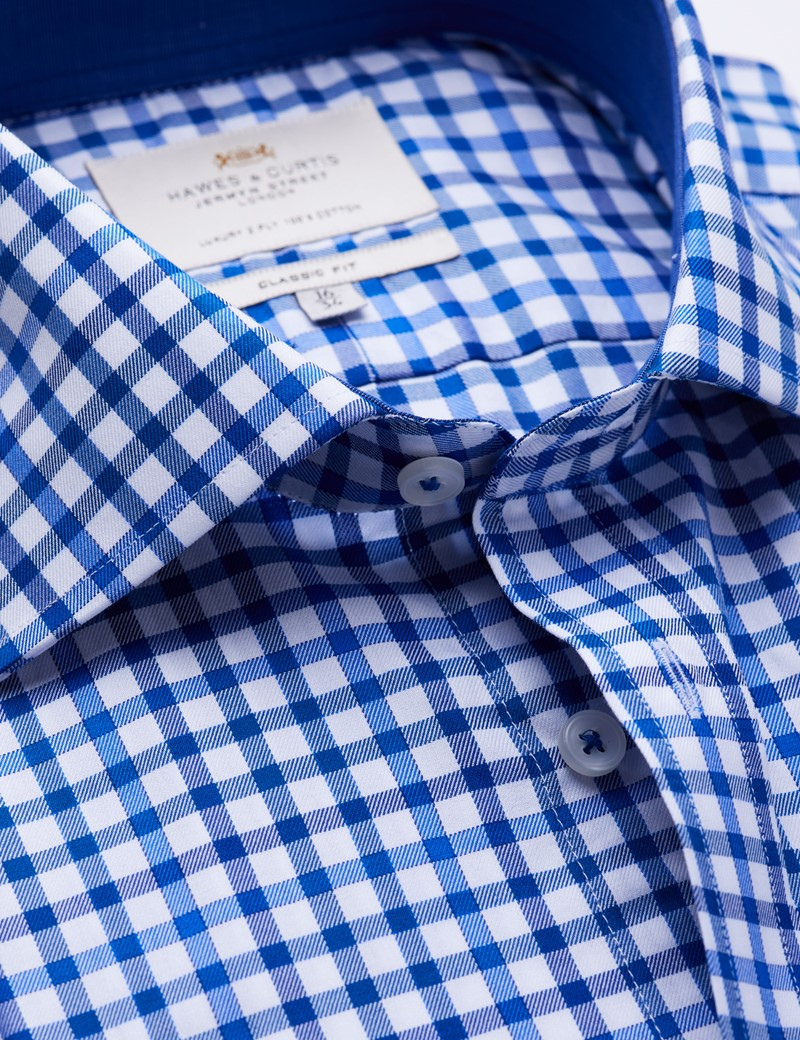 Easy Iron Navy & Blue Multi Check Classic Fit Shirt with Contrast Detail