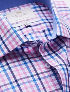 Easy Iron Pink & Blue Multi Check Classic Fit Shirt with Contrast Detail