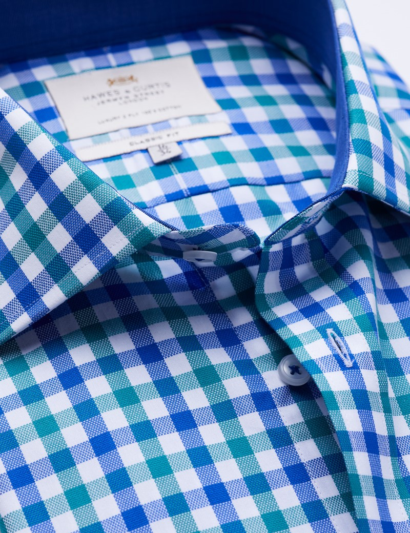 Easy Iron Blue & Green Multi Check Classic Fit Shirt with Contrast Detail