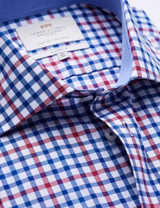 Easy Iron Red & Blue Multi Check Classic Fit Shirt with Contrast Detail