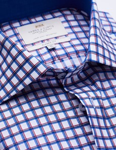 Easy Iron Red & Navy Multi Check Classic Fit Shirt with Contrast Detail