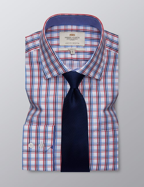 Men's Dress Red & White Multi Plaid Classic Fit Shirt - Single Cuff - Chest Pocket - Easy Iron