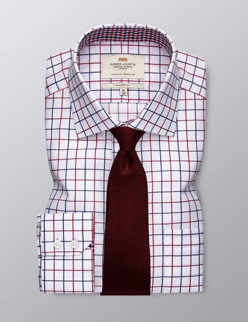 Men's Dress Navy & Red Medium Plaid Classic Fit Shirt - Single Cuff - Chest Pocket - Easy Iron