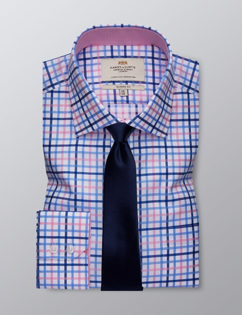 Men's Dress Blue & Pink Multi Plaid Classic Fit Shirt - Single Cuff - Chest Pocket - Easy Iron