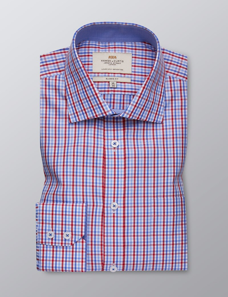 Men's Dress Red & Blue Multi Plaid Classic Fit Shirt - Single Cuff - Chest Pocket - Easy Iron