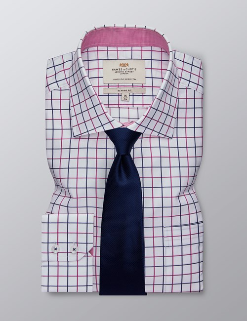 Men's Formal White & Magenta Multi Check Classic Fit Shirt - Single Cuff - Chest Pocket - Easy Iron