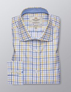 Men's Dress Yellow & Blue Multi Plaid Classic Fit Shirt - Single Cuff - Chest Pocket - Easy Iron