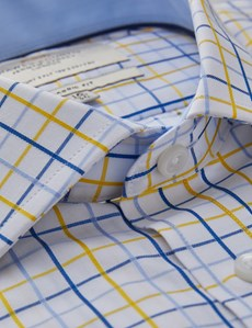 Men's Formal Yellow & Blue Multi Check Classic Fit Shirt - Single Cuff - Chest Pocket - Easy Iron
