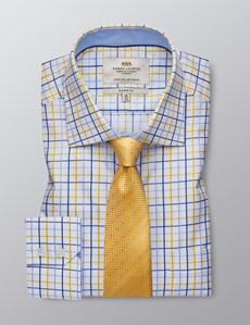 Men's Dress Yellow & Blue Multi Plaid Classic Fit Shirt - Single Cuff - Chest Pocket - Easy Iron