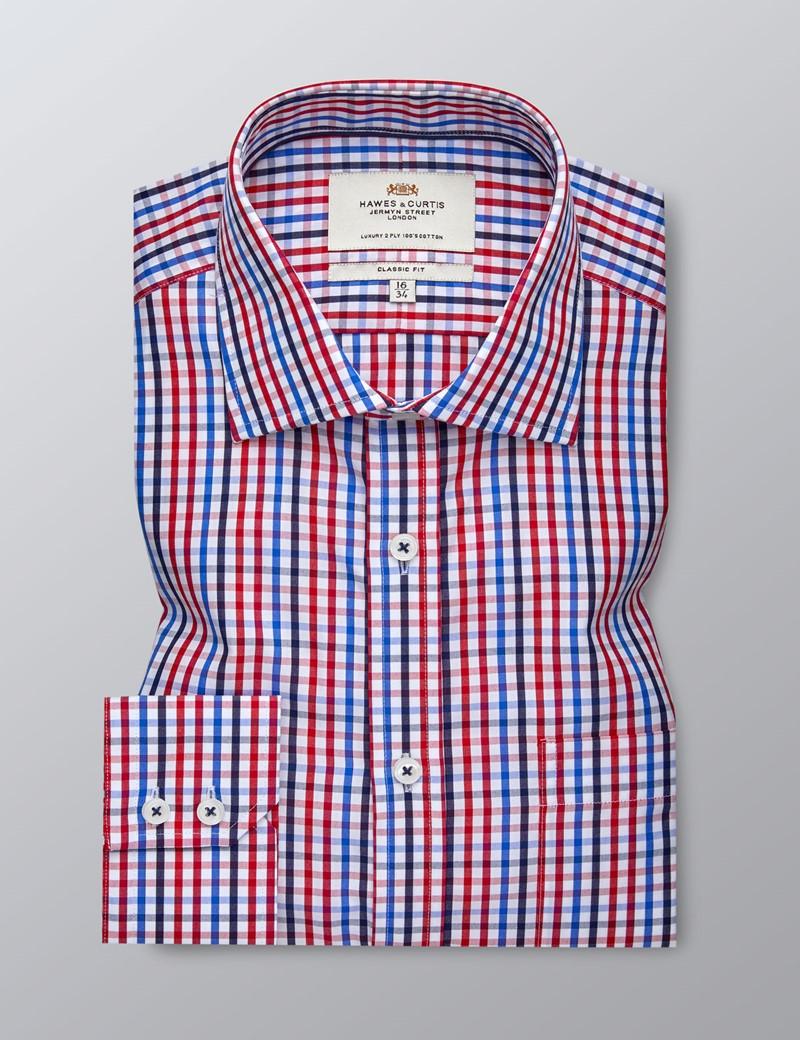 Businesshemd  – Classic Fit – Brusttasche – Karo rot & blau
