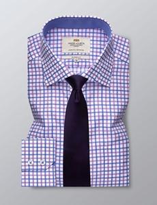 Businesshemd  – Classic Fit – Brusttasche – Karo rosa & blau