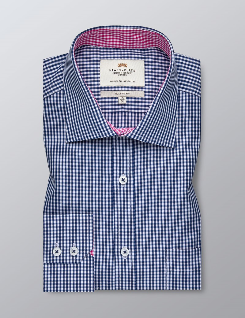 Men's Business Navy & White Gingham Check Classic Fit Shirt - Single Cuff - Chest Pocket - Easy Iron