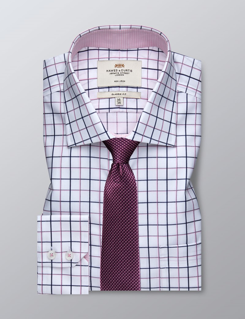 Men's Formal Navy & Pink Check Classic Fit Shirt - Single Cuff - Chest Pocket - Non Iron