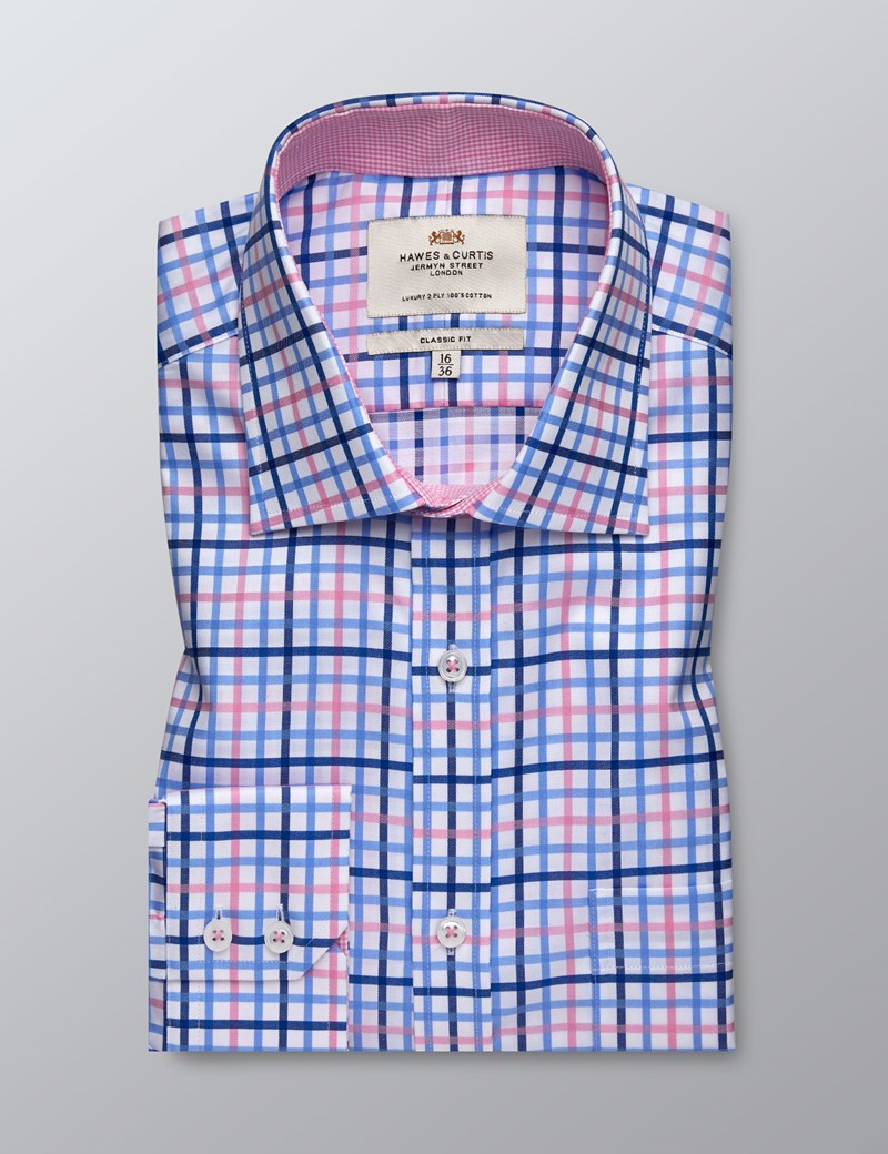 Men's Dress Pink & Blue Plaid Classic Fit Shirt - Single Cuff - Chest Pocket - Easy Iron