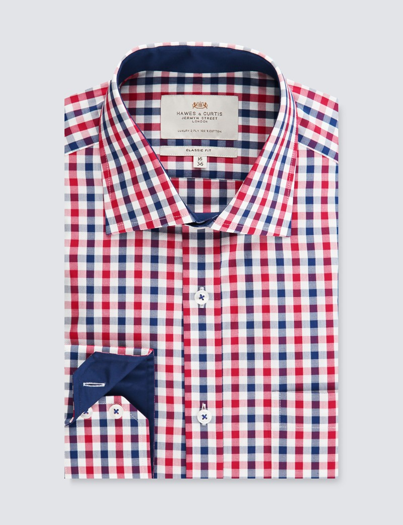 Men's Business Red & Navy Multi Check Classic Fit Shirt - Single Cuff