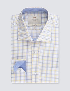 Men's Formal Blue & Yellow Multi Check Classic Fit Shirt - Single Cuff - Chest Pocket