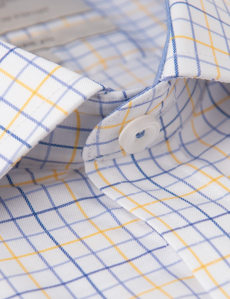 Men's Business Blue & Yellow Multi Check Classic Fit Shirt - Single Cuff - Chest Pocket